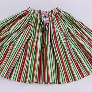 NWT Pinup Couture Christmas Stripe Circle Skirt XS
